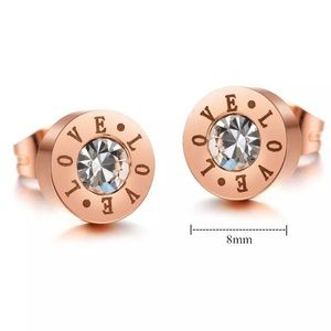 Rose Gold Nickel Lead Free Engraved Love Earrings